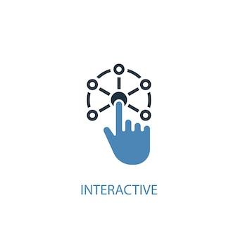 Concetto interattivo 2 icona colorata. illustrazione semplice dell'elemento blu. design interattivo del simbolo del concetto. può essere utilizzato per ui/ux mobile e web