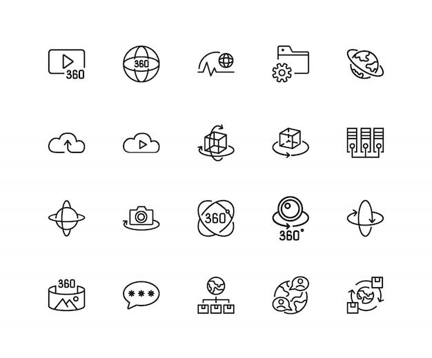 Icone di sistema interattive. set di venti icone di linea.