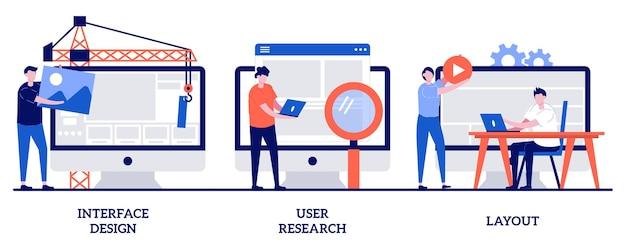 Design dell'interfaccia, ricerca degli utenti, illustrazione del layout con persone minuscole