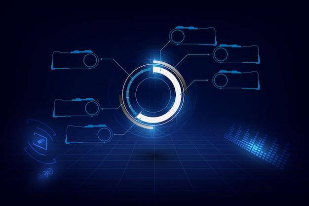 Modello futuristico di concetto di progetto di fantascienza dell'interfaccia utente di hud dell'interfaccia
