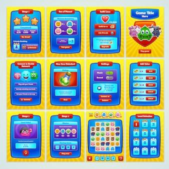 Gioco di interfaccia. tutti gli schermi di cui hai bisogno per il tuo gioco. .