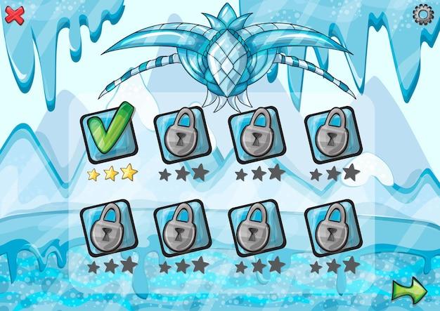 Progettazione del gioco dell'interfaccia - barra di avanzamento del ghiaccio per il gioco - illustrazione vettoriale