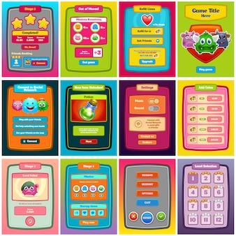 Gioco di interfaccia. interfaccia utente di gioco per web design e giochi per computer. .