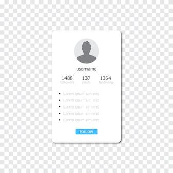 Interfaccia del profilo del social media frame.