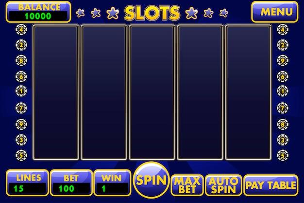 Interfaccia slot machine di colore blu. menu completo di interfaccia utente grafica e set completo di pulsanti per la creazione di giochi da casinò classici.