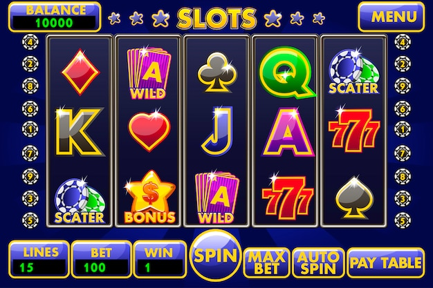 Slot machine con interfaccia. menu completo di interfaccia utente grafica e set completo di pulsanti per la creazione di giochi da casinò classici. grande set di icone di casinò da gioco