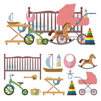 Interno della baby room e set vettoriale di giocattoli per bambini. illustrazione in stile piano. letto, asilo nido, bicicletta, carrozza
