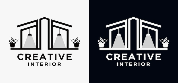 Interior concept house logo lampada tavolo mobili per la casa logo design concept vector edificio moderno