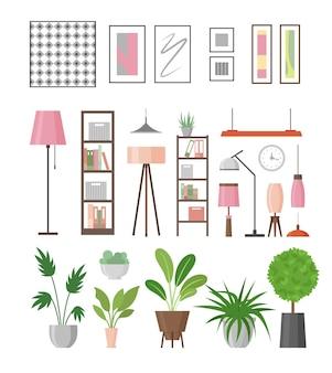 Elementi di arredo interni. piante domestiche in vasi, lampade, mensole e quadri. collezione di mobili