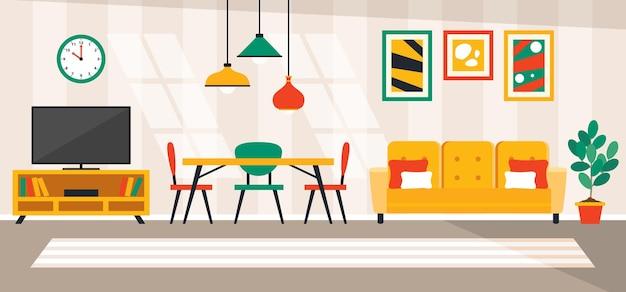Interior design concept con mobili piatti