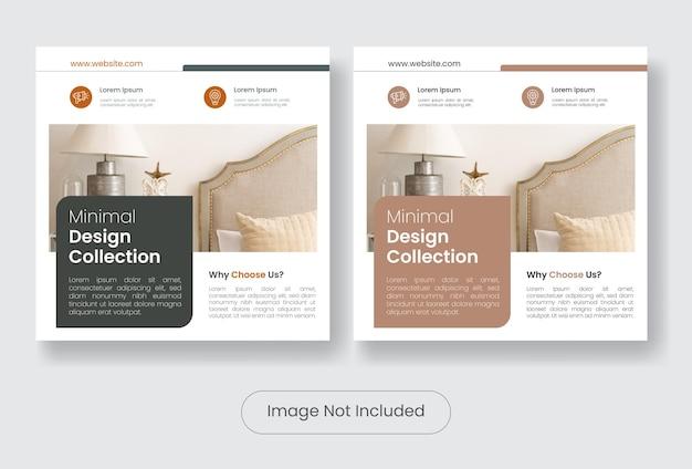 Set di modelli di banner per social media per mobili di interior design