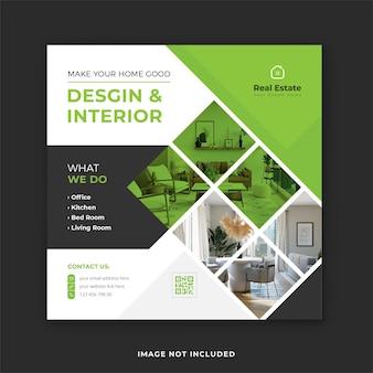 Post di instagram di interior design immobiliare e banner quadrato di social media