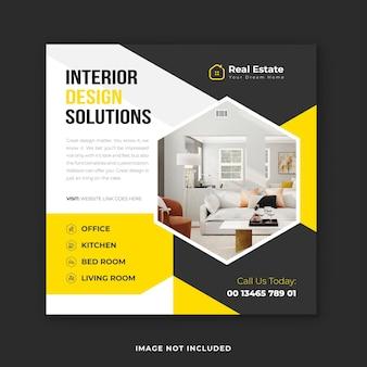 Servizio di interior design post sui social media e modello di post instagram immobiliare