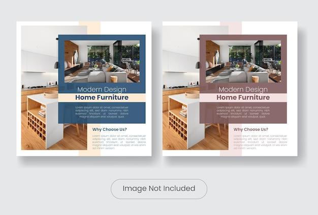 Set di modelli di banner per post sui social media di interior design