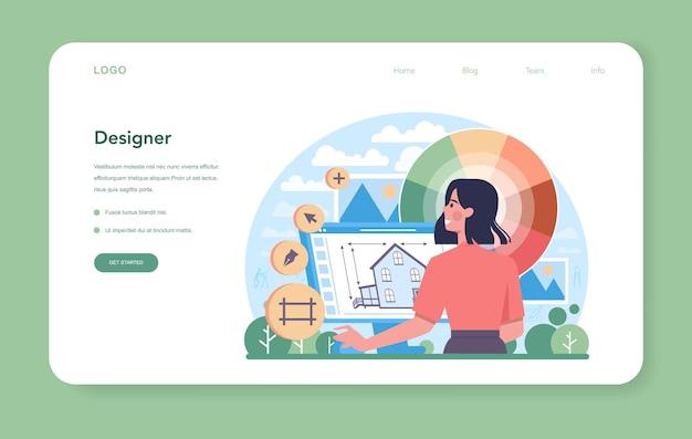 Banner web o pagina di destinazione per designer d'interni. progettazione del decoratore