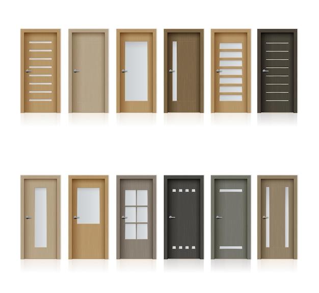 Porte interne isolati elementi di design realistici per la decorazione della stanza o dell'ufficio
