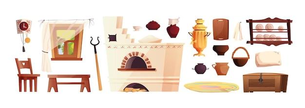 Elementi interni della capanna russa. antica stufa russa, orologio, panca, petto, samovar, impugnatura, finestra con tenda.