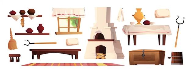 Elementi interni della capanna russa. antica stufa russa, pentole, panca, tappeto, scopa, impugnatura, finestra con tenda, moquette. illustrazione di cartone animato.