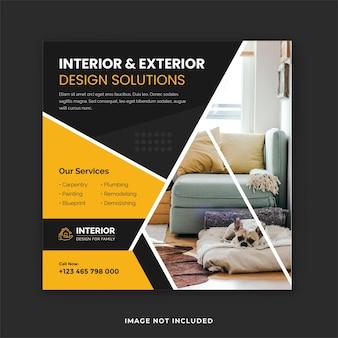 Servizio di progettazione di interni ed esterni post sui social media e modello di post instagram immobiliare