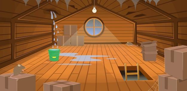 L'interno ha inondato la soffitta di legno di scatole