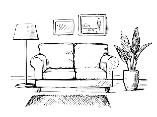 Divano con disegno a mano per interni con pianta da interno