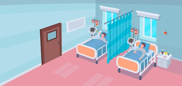 Interno della stanza d'ospedale con letti d'ospedale e pazienti. vettore
