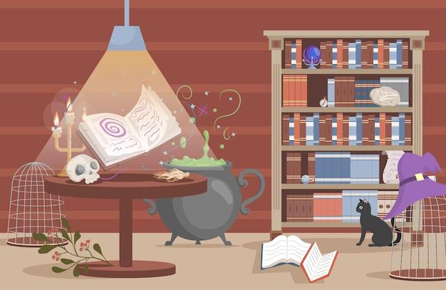 Interno della casa della strega vettore piatto fumetto illustrazione