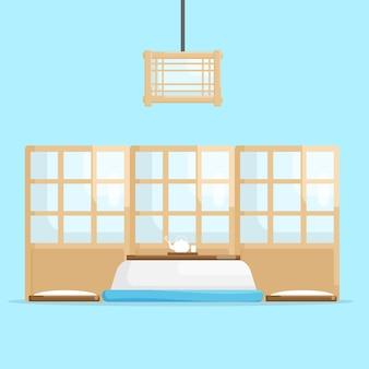 Design piatto dell'illustrazione di vettore della stanza giapponese interna