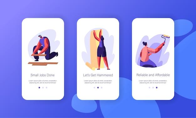 Set di schermi a bordo della pagina dell'app mobile per la ristrutturazione degli interni.