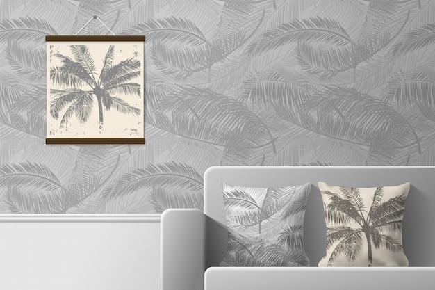 Interno della stanza con divano e cuscini con stampe. modelli di modelli senza cuciture e stampe per interni. illustrazione.