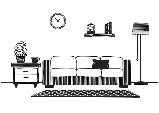 Interni in stile scandinavo. parte della stanza. illustrazione disegnata a mano di uno stile di schizzo.