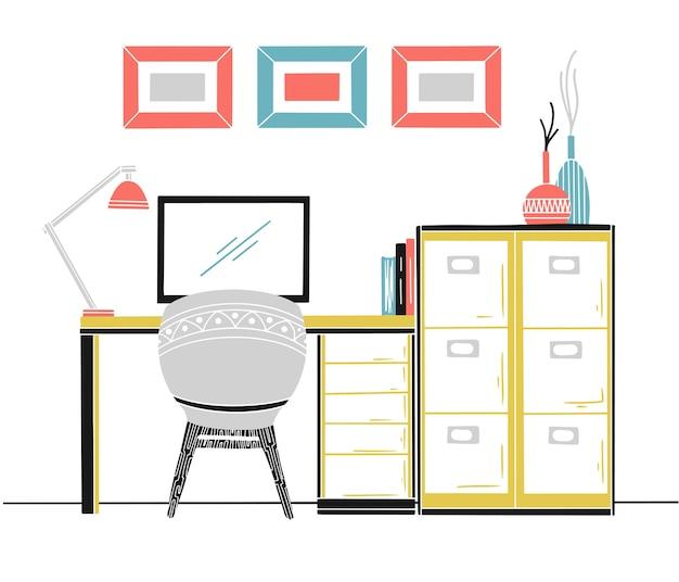 Interni in stile scandinavo. posto di lavoro con un computer. schizzo degli interni. illustrazione.