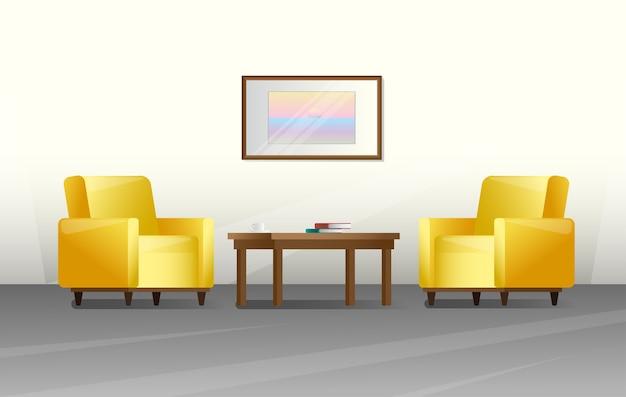 Interni in uno stile. mobili per soggiorno. illustrazione