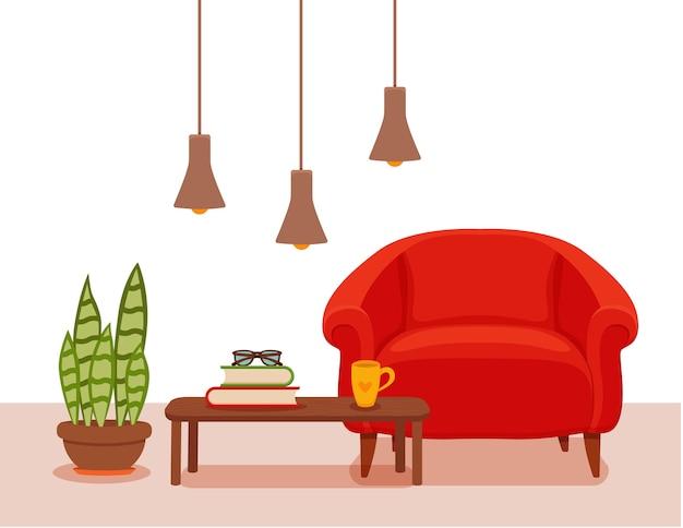 Interno con poltrona con pianta in vaso, lampada da terra. stile minimalista colorato. illustrazione di soggiorno accogliente. elemento di design interno casa