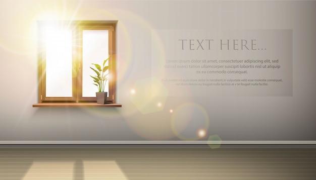 Interno con finestra in legno, pianta e sole che splende attraverso di essa. posto per la tua pubblicità.