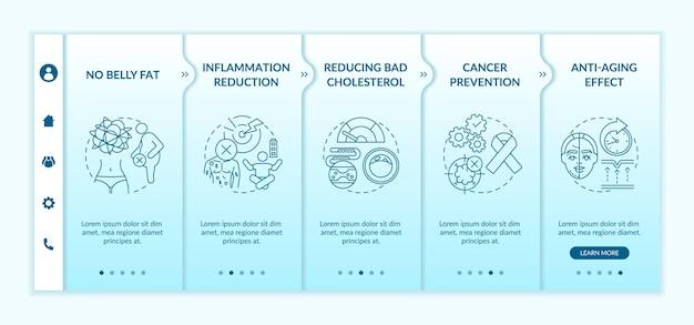 Modello di onboarding dei vantaggi del digiuno intermittente. riduzione dell'infiammazione. prevenzione del cancro. schermate di passaggio della procedura guidata della pagina web.