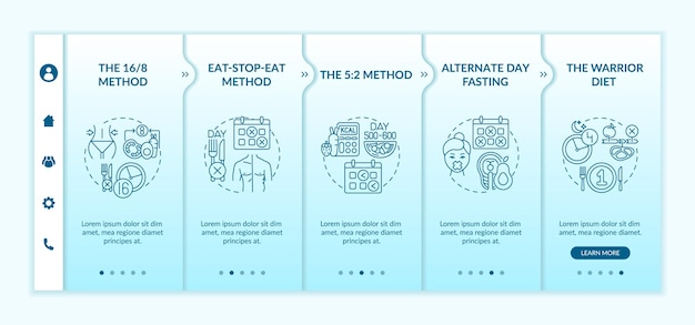 Modello di introduzione ai metodi di digiuno intermittente. metodo eatstopeat. digiuno a giorni alterni. schermate di passaggio della procedura guidata della pagina web.