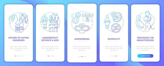 Schermata della pagina dell'app mobile onboarding blu intermittente per precauzione di digiuno con concetti