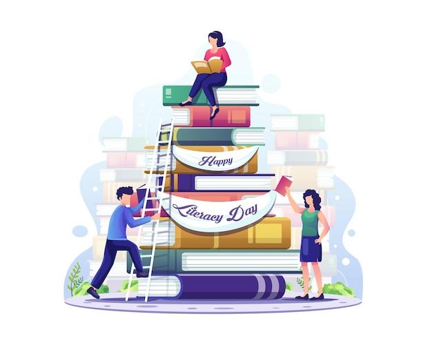 Giornata dell'alfabetizzazione interna le persone raccolgono libri da leggere insieme nell'illustrazione del giorno dell'alfabetizzazione