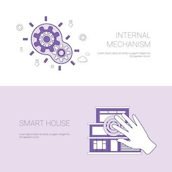 Insegna di web del modello di concetto della casa intelligente e di meccanismo interno con lo spazio della copia