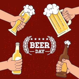 Giornata internazionale della birra, agosto, mani in possesso di birre