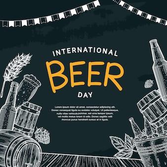 Disegno dell'illustrazione della giornata internazionale della birra con elemento disegnato a mano