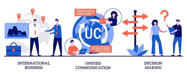 Affari internazionali, comunicazione unificata, concetto di processo decisionale con persone minuscole. comunicazione e collaborazione aziendale, lavoro di squadra, set di partnership.