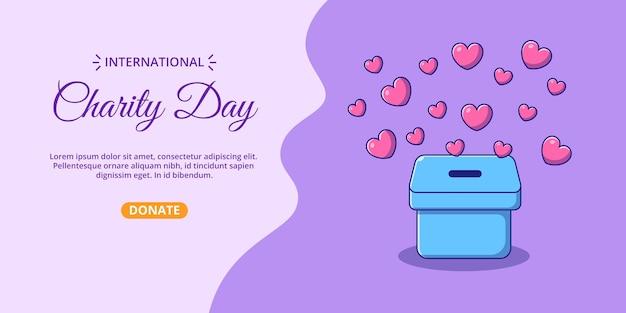 Bandiera della giornata internazionale della beneficenza con scatola di cuori del fumetto.