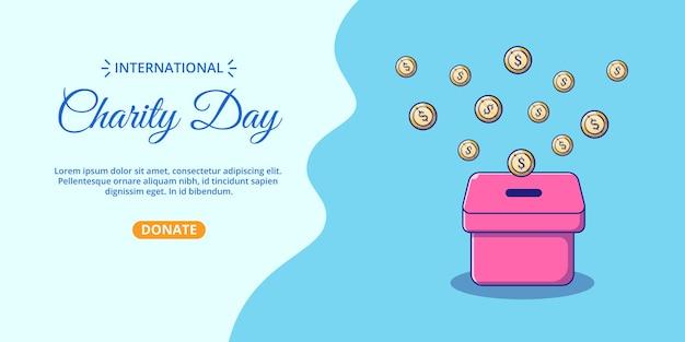 Bandiera della giornata internazionale di beneficenza con scatola di soldi del fumetto.