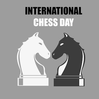 Giornata internazionale degli scacchi - illustrazione vettoriale. pezzo degli scacchi.