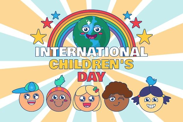 Decorazione festiva per la giornata internazionale dei bambini o design di poster con volti di bambini diversi e felici. priorità bassa dell'insegna di evento mondiale globale. 1 giugno vacanza concetto festivo. illustrazione vettoriale piatta