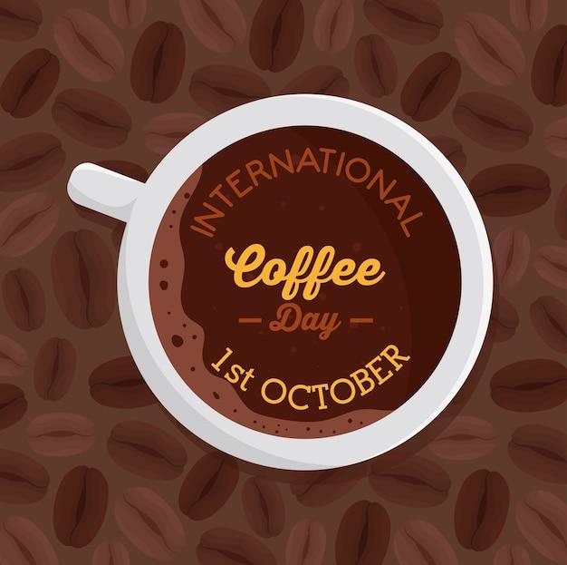 Manifesto della giornata internazionale del caffè, 1 ottobre, con vista aerea del design dell'illustrazione del caffè in tazza