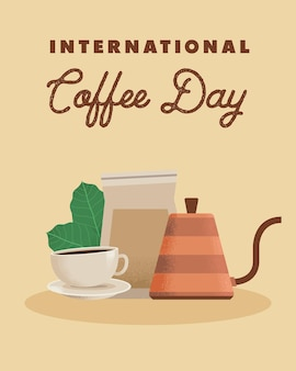 Modello per la giornata internazionale del caffè