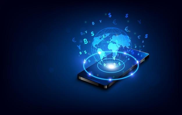 Trasferimento di valuta internazionale, pagamento tramite smartphone utilizzando uno smartphone, concetto di denaro